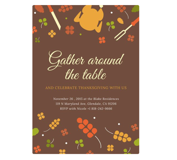 5 of the best websites to design your thanksgiving dinner invitation canva is simple to maneuver for anyone they offer several free holiday invitation templates depending on what you choose they may come in pre sized stopboris Gallery