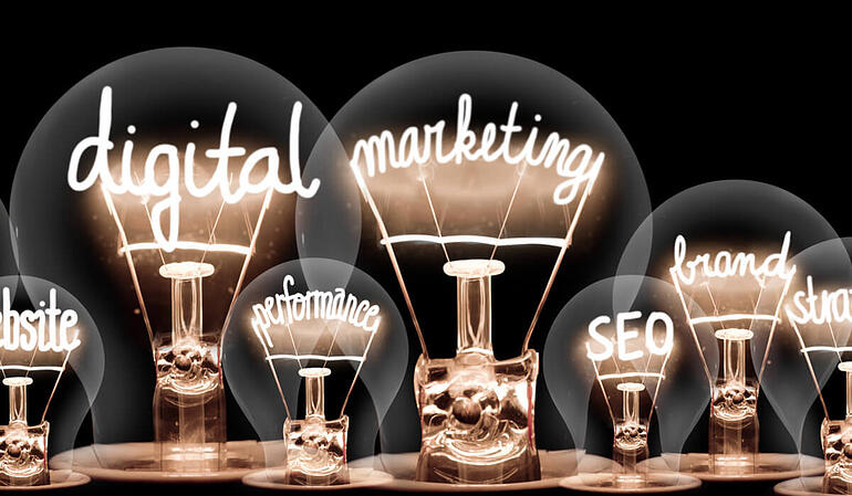 Digital Marketing keywords such as: performance, SEO, brand, website.