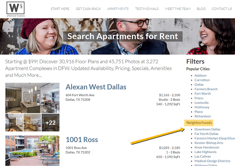 example of apartments search results page